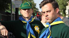 Barnie and James as Scouts