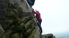 The Roaches - Anna scaling the last part of the climb