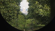 The view through the telescope on King Henry's Mount, Richmond Park