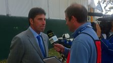 Iain Carter talking to European skipper Jose Marie Olazabal on the eve of the Ryder Cup