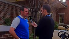 Lee Westwood speaking to Andrew Cotter