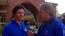 Rory McIlroy speaking to John Inverdale