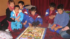Lorna with children from the House of Hope, a centre for disabled children in Kabul