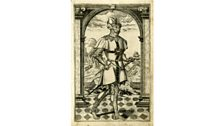 Engraving of a man with a sword & dagger, by William Rogers 1602