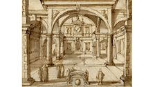 A drawing of a courtyard with a clock. From between 1542 and 1608