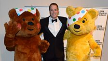 Rugby player Martin Bayfield with Blush and Pudsey