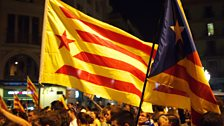 Catalan flags at night in Barcelona
