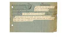 Telegram from the BBC Film Operations Manager to cameraman Geoffrey Mulligan