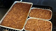 Jim's chocolate flapjack in the oven