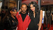 Sarah-Jane with the siblings of the late Lisa 'Left Eye' Lopes of TLC