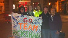 Lovely ladies who turned up VERY early to wave Team Rickshaw off, posing with Alex from The One Show