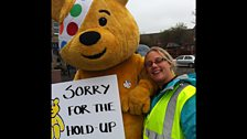 Pudsey apologies for holding the traffic up!