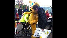 Pudsey has a go on a bike!