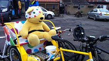 Pudsey in the back of the rickshaw