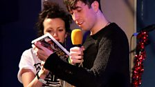 Grimmy gets a hip hop honeyz calendar from Annie Mac