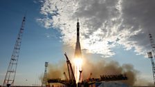 A Soyuz rocket carries 3 Astronauts to the International Space Station. Photo Credit: NASA/Carla Cioff