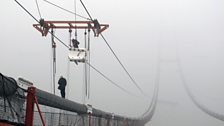 The construction of the 4th Nanjing Bridge, China. One of the longest suspension bridges in the world.