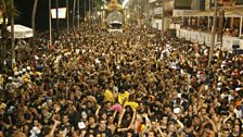 The massive crowd at the Salvador Carnival in Brazil