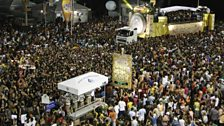 The floats surrounded by millions of carnival-goers
