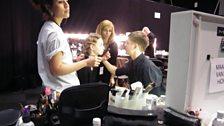 Frenzied preparation backstage at Fashion East - the new designer showcase