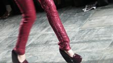 Some super high heels at James Long, Fashion East