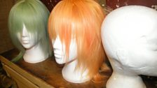 The candy coloured wigs for the catwalk show