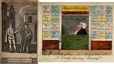 Pic1: A young man buying a potion (to induce falling in love?) Pic 2:Quack doctor open for business. Coloured etching by G.M.