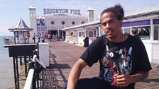 Dev does some experimental busking in Brighton