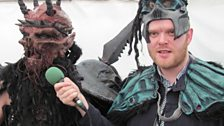 Oderus from GWAR helps Huw get all dressed up for when he introduces Bowling For Soup on the Main Stage later