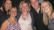 Here's Carrie, after coming off stage, with some fans of the show