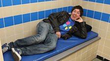 Matt feels right at home on a plastic mattress!