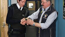 Lovely Billy from Costumes teaches Matt how to apply real handcuffs.