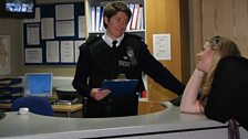 After filming, Matt gets more practice by arresting a drunk and disorderly.