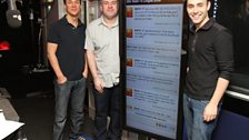 Dave, Chris and Aled model the enormous screen in the studio where your messages of support are displayed.