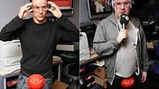 Chris and Dave protect themselves ahead of Fearne's game to test their reflexes!