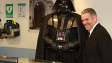 Meanwhile, Darth Vader was waiting for Chris in reception...
