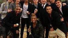Chris with his boyband family