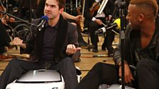 Sadly Jimmy Carr is having issues with his horn (the steering wheel came off)