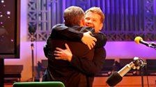 Chris gets a hug from James Corden