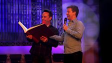 Ant and Dec with their giant book