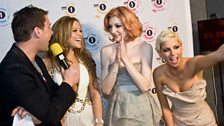 Girls Aloud pop in to see Scott, it's there first ever Brit Award after 7 years at the top!