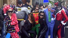 Chris looks intimidated by the other Batmen