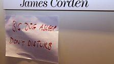 James Corden gets a bit of beauty sleep ahead of hosting the bash