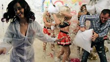 Katy can't escape the pillow fight