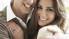 One of the official engagement portraits of Prince William and Catherine Middleton