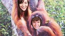 Greg and Assistant Producer Sarah monkey around at the zoo.