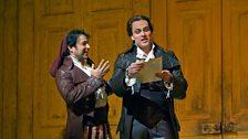 Rodion Pogossov as Figaro and Alek Shrader as Count Almaviva