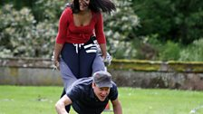 Tina ploughs Dave straight into the ground!