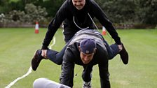 Dom and Vernon approach a finish line pile-up!