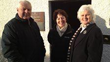John McKenna from National Trust Scotland, Helen Mark and local historian Sandra Affleck at J.M. Barrie's Birth Place.